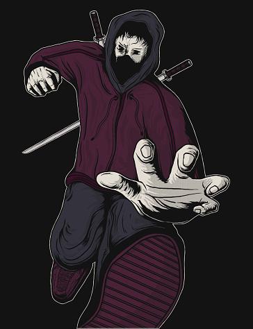 artwork illustration Japanese ninja from the future