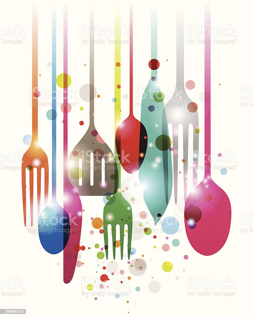 Artwork Of Kitchen Utensils In Multiple Colors With Circles ...