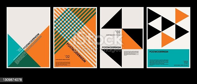 istock Artworks, posters inspired postmodern of vector abstract dynamic symbols with bold geometric shapes, useful for web background, poster art design, magazine front page, hi-tech print, cover artwork. 1309874078