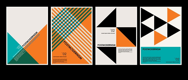 Artworks, posters inspired postmodern of vector abstract dynamic symbols with bold geometric shapes, useful for web background, poster art design, magazine front page, hi-tech print, cover artwork