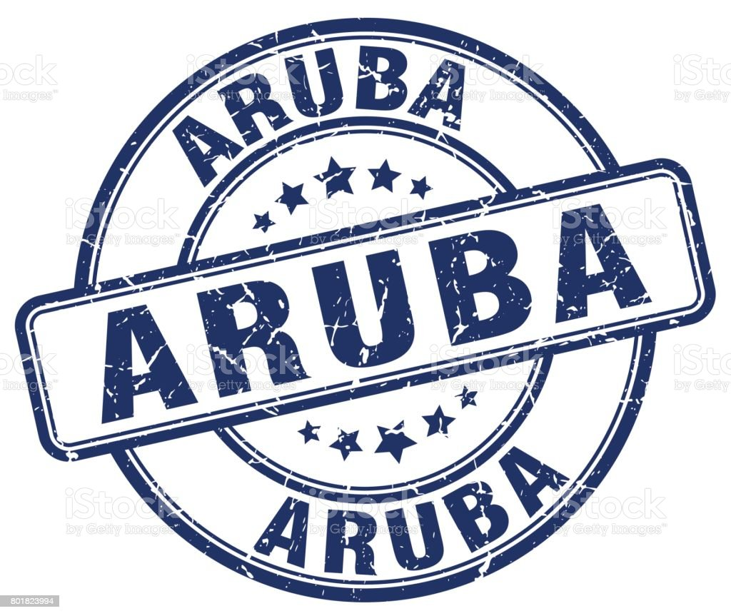 Aruba blue grunge round vintage rubber stamp vector art illustration
