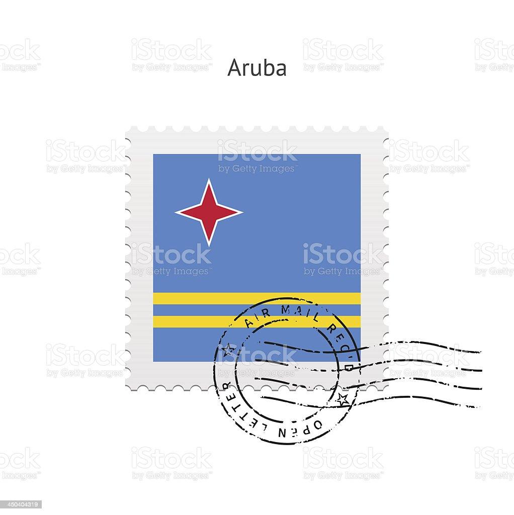 Aruba Flag Postage Stamp vector art illustration