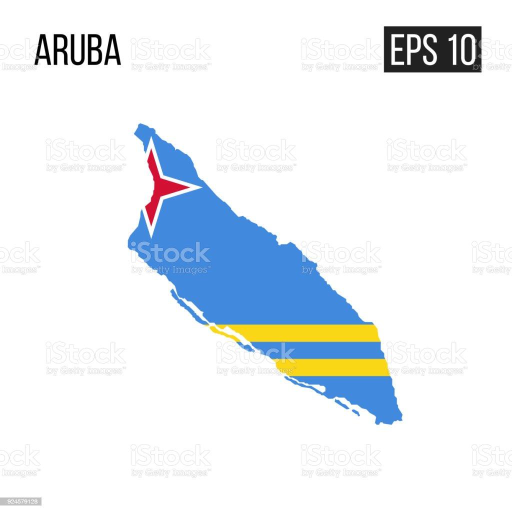 Aruba map border with flag vector EPS10 vector art illustration