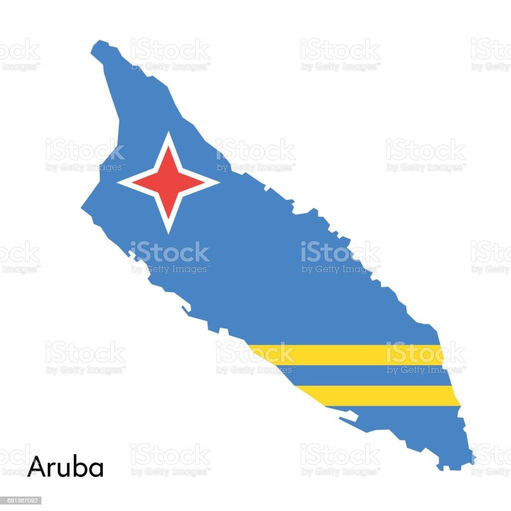 Aruba map with flag colors vector art illustration