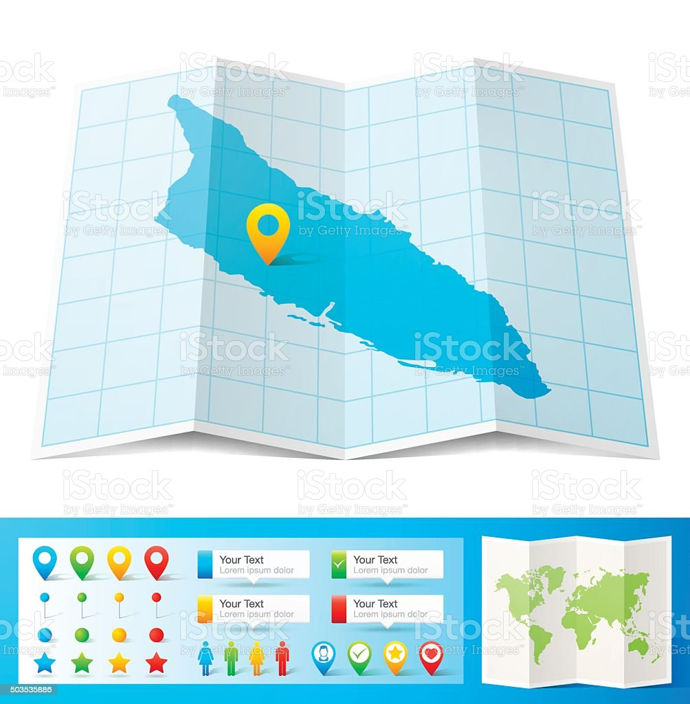 Aruba Map with location pins isolated on white Background vector art illustration