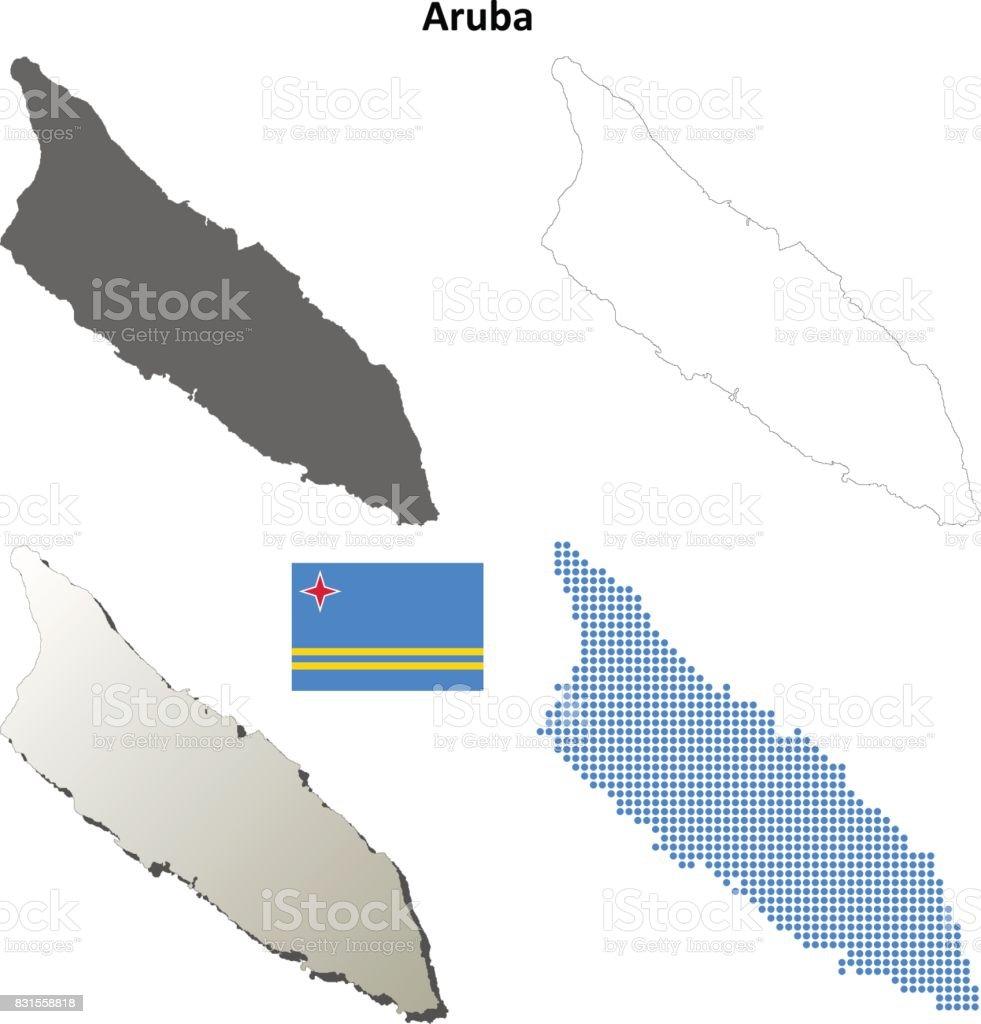 Aruba outline map set vector art illustration
