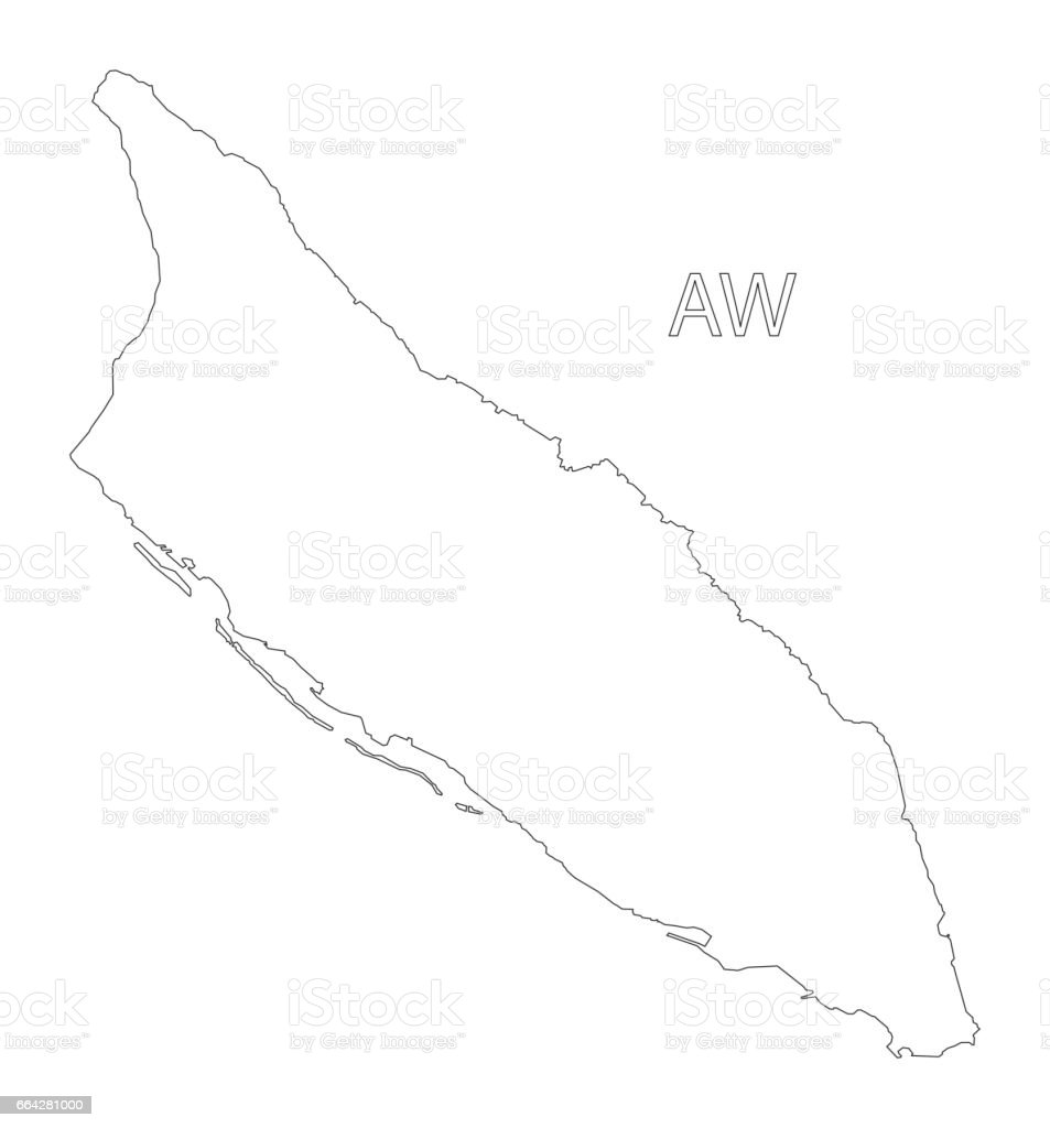 Aruba outline silhouette map illustration vector art illustration