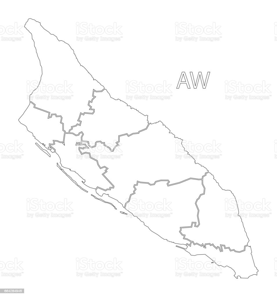 Aruba outline silhouette map illustration with regions vector art illustration
