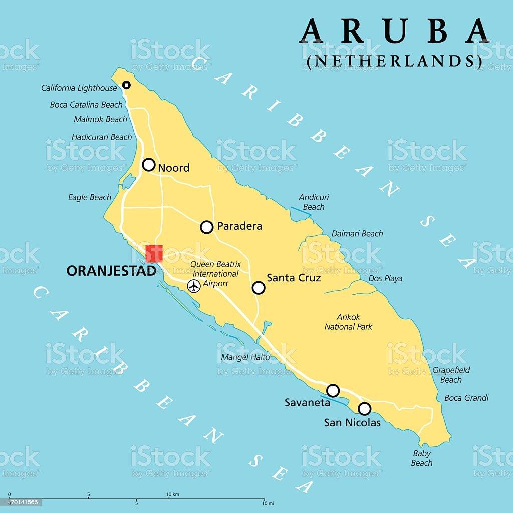 Aruba Political Map vector art illustration