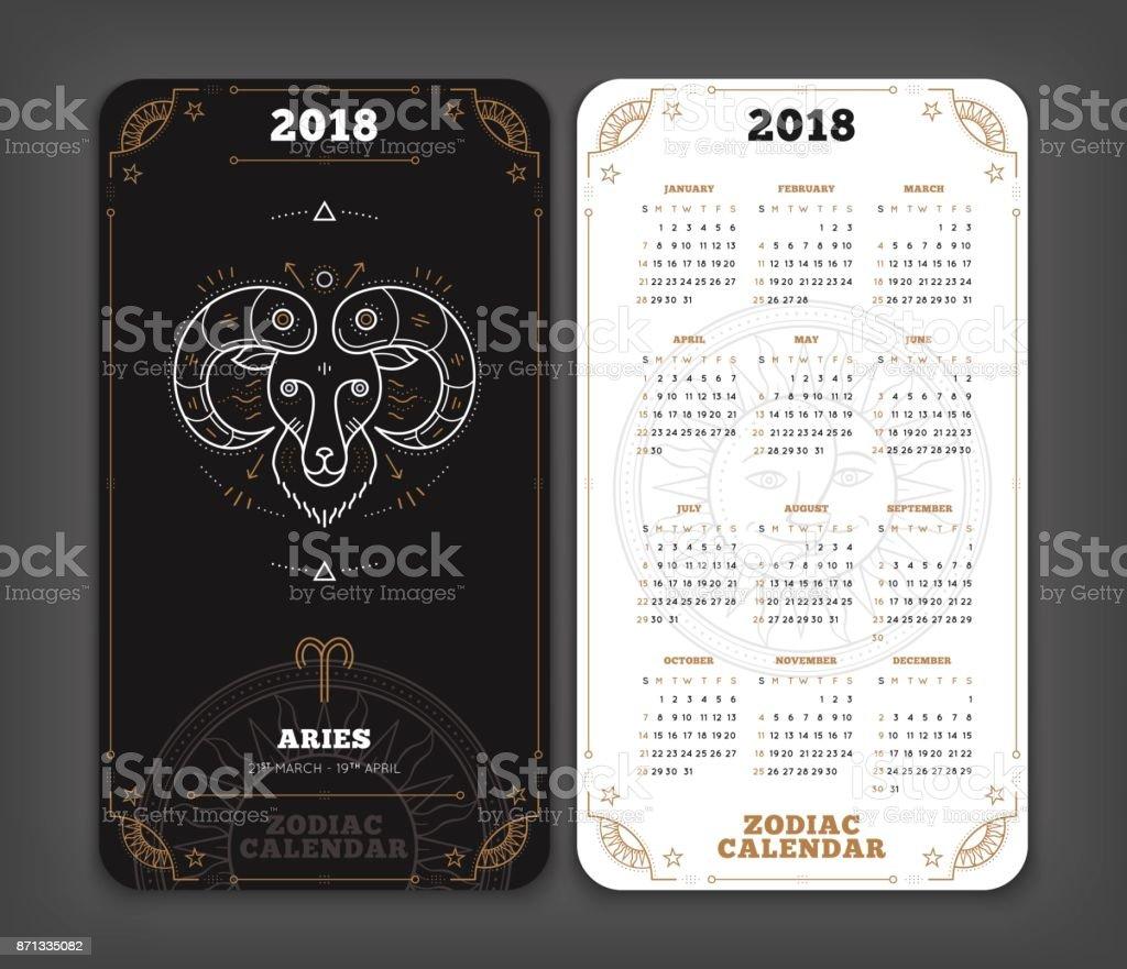 Arues 2018 Jahr Sternzeichen Kalender Tasche Größe Vertikalen Layout