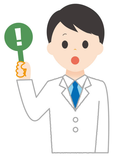 As for the illustration,man wears white surprised. As for the illustration,man wears white surprised. 病院 stock illustrations