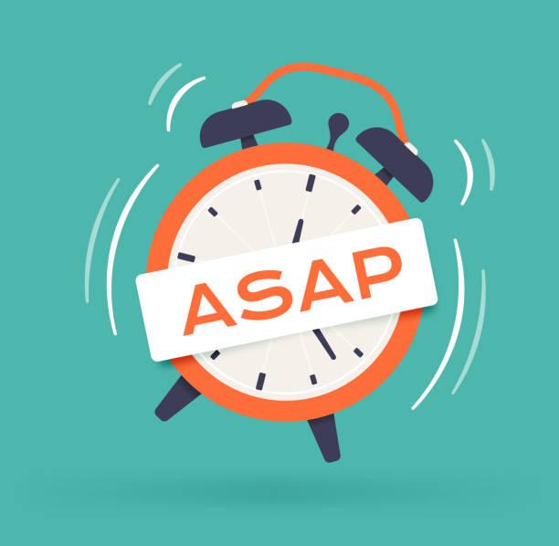 As Soon As Possible Alarm Clock ASAP Alarm clock idea. deadline stock illustrations