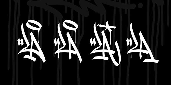 LA As Word Los Angeles Abstract Hip Hop Urban Hand Written Graffiti Style Vector Illustrations Art