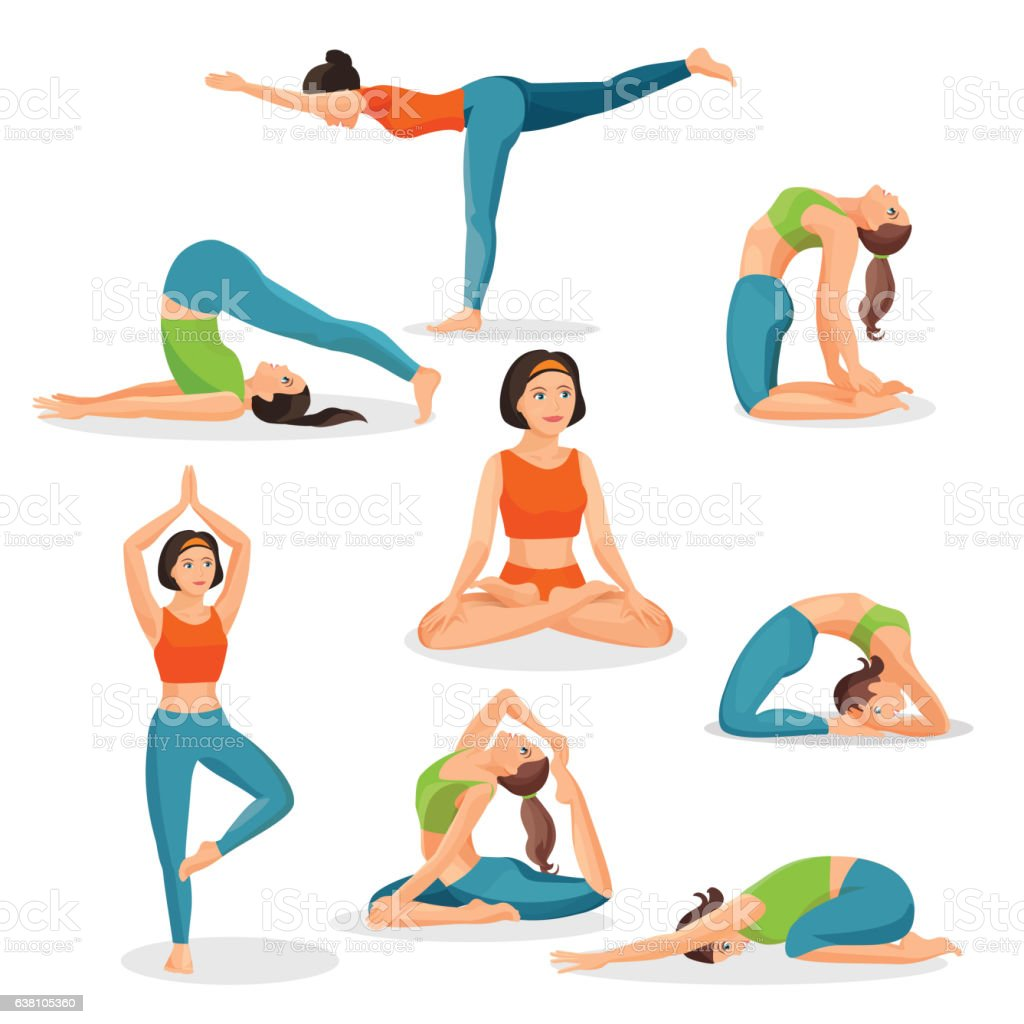 Asana Yoga Collection Of Girls Doing Sport In Oriental Poses Royalty Free