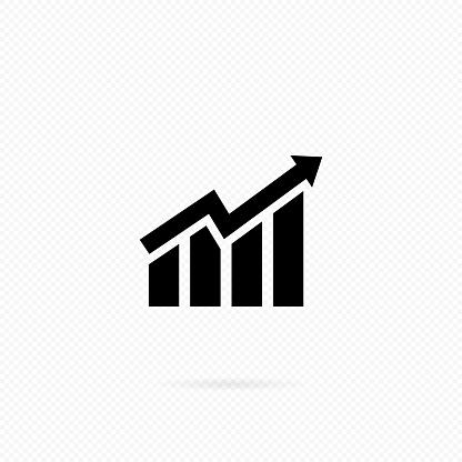Ascendant bars graphic icon with rising arrow. Histogram icon in black. Infographic. Chart icon. Upward graph arrow chart vector flat, grow, gain, improvement, bar, diagram
