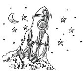 Hand-drawn vector drawing of an Ascending Rocket Spaceship. Black-and-White sketch on a transparent background (.eps-file). Included files are EPS (v10) and Hi-Res JPG.