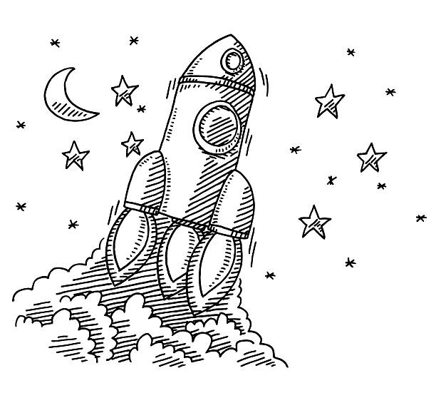 Ascending Rocket Spaceship Drawing Hand-drawn vector drawing of an Ascending Rocket Spaceship. Black-and-White sketch on a transparent background (.eps-file). Included files are EPS (v10) and Hi-Res JPG. transportation stock illustrations