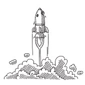 Hand-drawn vector drawing of an Ascending Rocket, a Metaphor for a Startup Company. Black-and-White sketch on a transparent background (.eps-file). Included files are EPS (v10) and Hi-Res JPG.