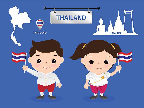 ASEAN Wirtschaftsgemeinschaft (AEC) Kinder thailand – Vektorgrafik