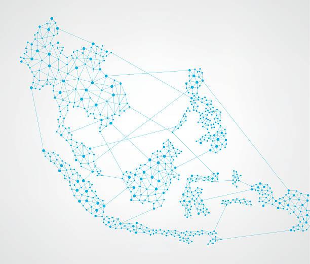 stockillustraties, clipart, cartoons en iconen met asean map network - zuidoost azië