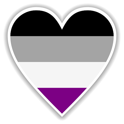 Asexual pride Flag in heart with shadow and white outline