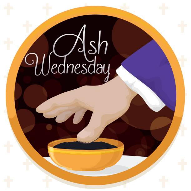 ash wednesday design with button, priest hand and blessed ashes - ash wednesday stock illustrations, clip art, cartoons, & icons