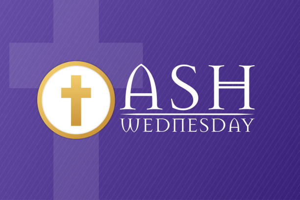 Ash Wednesday. Holiday concept. Template for background, banner, card, poster with text inscription. Vector EPS10 illustration. Ash Wednesday. Holiday concept. Template for background, banner, card, poster with text inscription. Vector EPS10 illustration lent stock illustrations