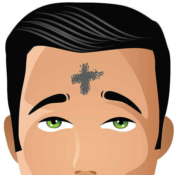 ash wednesday man with cross of ashes - ash wednesday stock illustrations, clip art, cartoons, & icons