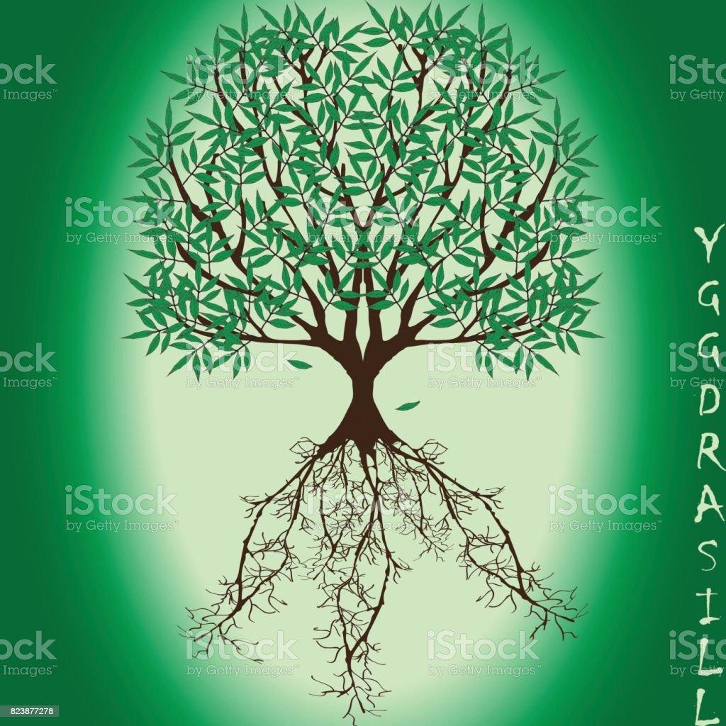 Fresno Yggdrasil con hojas verdes y llegar a la profundidad de las raíces - ilustración de arte vectorial