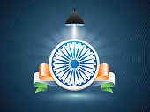 Indian Republic Day celebration with 3D Ashoka Wheel in light and glossy national tricolor ribbon on blue background.
