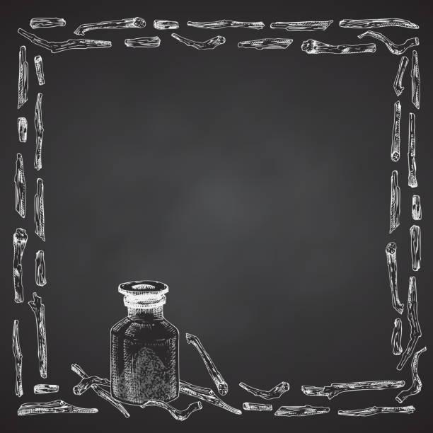 ashwagandha handgezeichnete rahmen rahmen muster mit beeren, lebt und zweig in weißer kreide farbe auf schwarze tafel hintergrund. - schlafbeere stock-grafiken, -clipart, -cartoons und -symbole