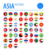 Asia All Flags - Vector Round Flat Icons