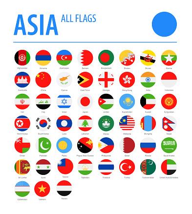 Asia All Flags Vector Round Flat Icons — стоковая векторная графика и другие изображения на тему Азия
