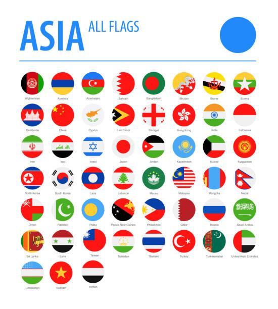 stockillustraties, clipart, cartoons en iconen met asia all flags-vector ronde platte iconen - zuid korea