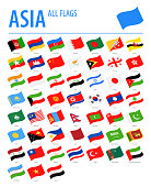 Asia All Flags - Vector Waving Flat Icons