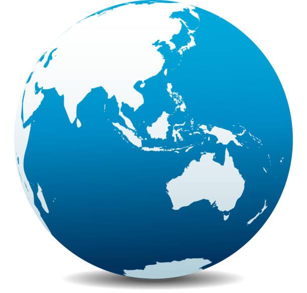 Asie et Australie, Global monde - Illustration vectorielle