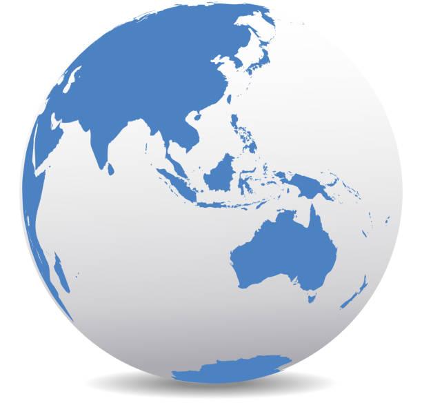 アジアおよびオーストラリア、グローバル世界 - 地球 日本点のイラスト素材/クリップアート素材/マンガ素材/アイコン素材