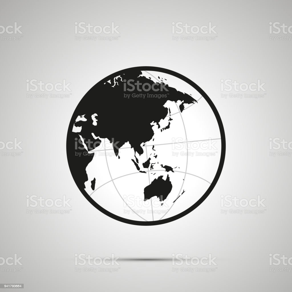 Asia and australia side of world map on globe simple black icon with asia and australia side of world map on globe simple black icon with shadow royalty gumiabroncs Image collections