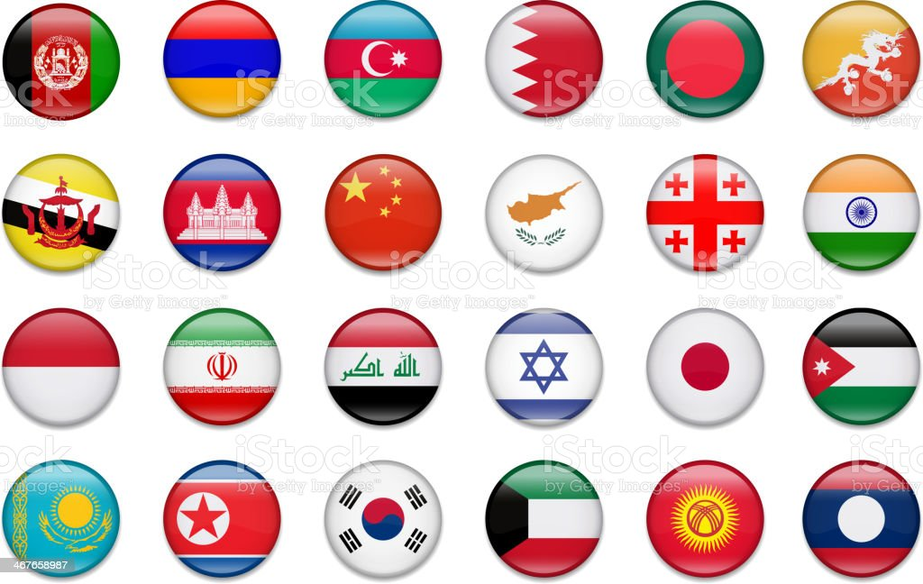 Asia Button Flag Collection-Part 1 vector art illustration