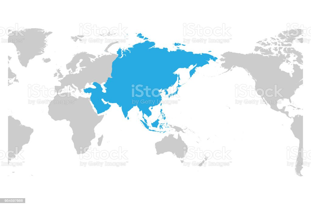 Asia continent blue marked in grey silhouette of world map centered asia continent blue marked in grey silhouette of world map centered on asia simple gumiabroncs Images
