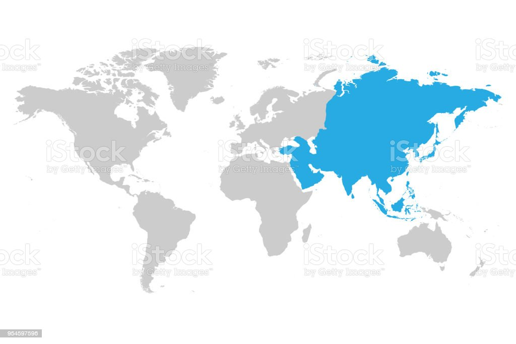 asia continent blue marked in grey silhouette of world map simple flat vector illustration royalty