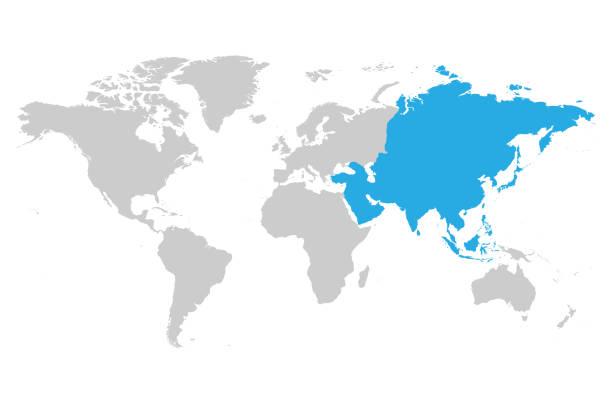 アジア大陸のブルーは、世界地図の灰色のシルエットでマークされます。単純なフラット ベクトル図 - アジア地図点のイラスト素材/クリップアート素材/マンガ素材/アイコン素材
