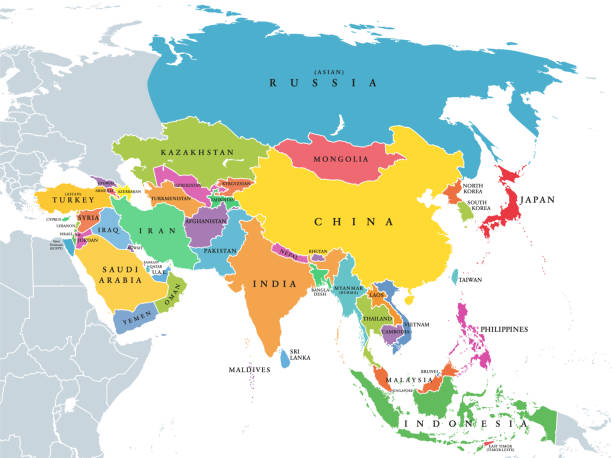 Asia, continent, main regions, political map with subregions vector art illustration