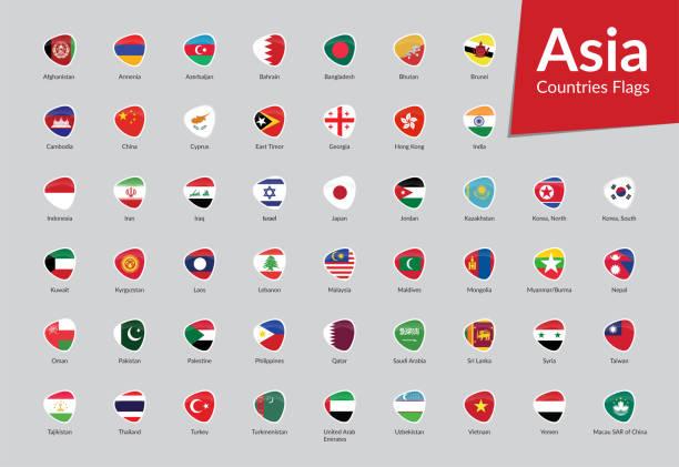 stockillustraties, clipart, cartoons en iconen met azië landenvlaggen icon collectie - indonesische vlag
