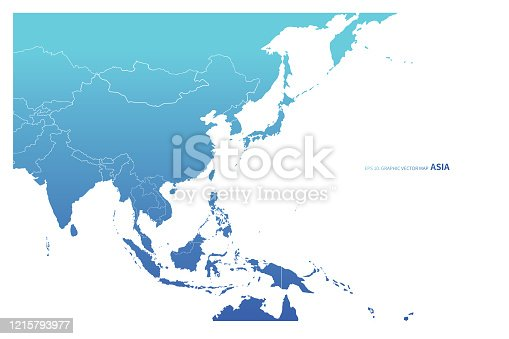 istock asia countries vector map. blue concept asia map. 1215793977