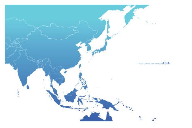 stockillustraties, clipart, cartoons en iconen met azië landen vector kaart. blauwe concept azië kaart. - zuidoost azië