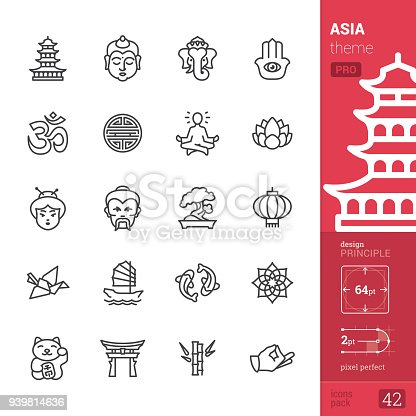 Asia Single line Pro Pack contains the following icons: • Pagoda, Buddha, Ganesha, Hamsa symbol; • Om symbol (Vedas), Shou character, Guru Meditation (Lotus Position), Lotus flower; • Japanese woman, Sensei icon, Bonsai Tree, Chinese Lantern; • Origami Crane, Junk ship, Koi carp, Mandala; • Maneki-neko (Beckoning cat), Shinto, Bamboo, Zen gesture.  PIXEL PERFECT DESIGN PRINCIPLE — pixel grid alignment, all the icons are designed in 64x64 pt square, stroke weight 2 pt.  >> Take a look at the complete PRO packs collection https://www.istockphoto.com/collaboration/boards/bWuaNNNEwE-iQ8JnJpMYMg
