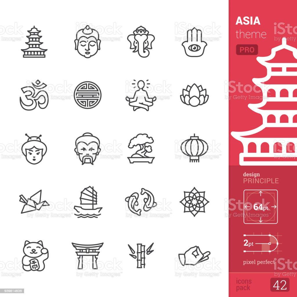 アジア文化、アウトライン アイコン - PRO パック ベクターアートイラスト