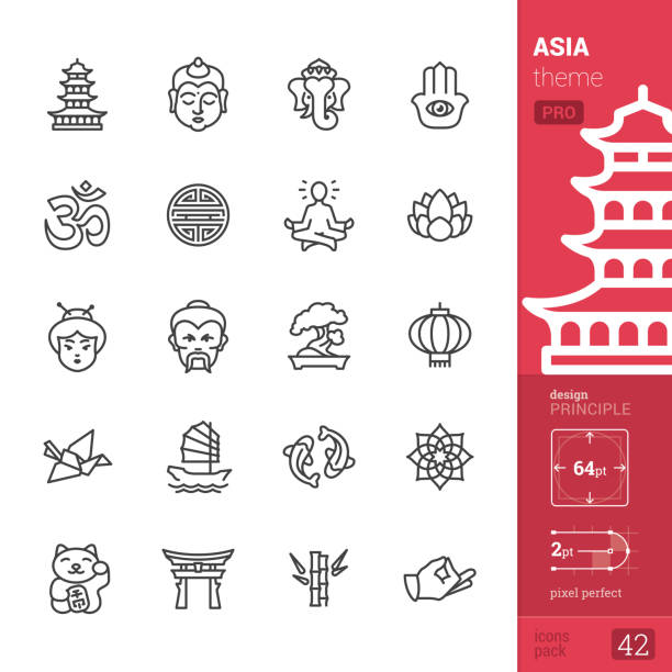 ilustraciones, imágenes clip art, dibujos animados e iconos de stock de cultura de asia, los iconos de contorno - pack pro - yin yang symbol
