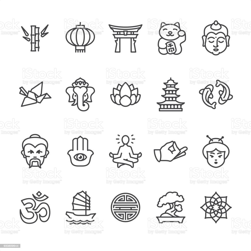Asia culture theme - outline vector icons vector art illustration